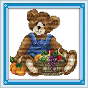 AngelGift Needlecrafts Stamped Counted Cross Stitch Set, Animal - Good Harvest Bear