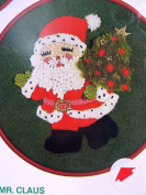 "Bernat 5020cm Mr. Claus"" Santa Picture Embroidery Needlepoint Kit 18cm Round Hoop Frame"