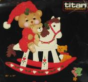 Titan Needlecraft 1986 Christmas Bears on a Rocking Horse Felt Wall Hanging Kit No. 654