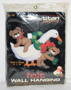 1985 TITAN Needlecraft TEDDY & GOOSE Felt Wall Hanging Kit No. 365