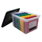 File Tote Storage Box with Snap-on Lid Closure, Letter/Legal, Clear/Black