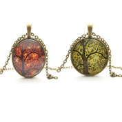 TL Set of 2 Vintage Ladies' Necklace the Tree of Life Glass Gem Pendant Long Chain Blessing Necklaces