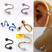 HuntGold 5 X . Multifunction Unisex S Twist Nose Lip Eyebrow Ring Earring Nose Stud