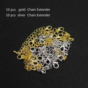 Holdding pack of 20 pcs Silver and Gold Colour chain extender for Jewellery Necklace/Lovely Water droplets chain to add an extra length to your favourite necklaces, bracelets or anklets
