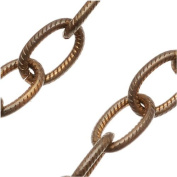 Vintaj Natural Brass Chain 9.5mm X 6.2mm Etched Cable Chain - Bulk By The Foot