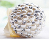 Hestian 13cm Bridesmaid Bouquet Luxury Handmade Romantic Big Pearls and Deluxe Rhinestones Bridal Wedding Bouquet Silk Rose Hand Tie