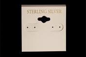 "100pcs Earring hang card, white 5.1cm square ""sterling silver"" inprint"