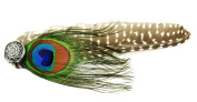 Touch of Nature 16cm Natural Guinea Feather Hat Decor Pin with Peacock Eye Feather