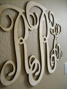 Unfinished Wood 3 Letter Vine Monogram 44cm X 70cm