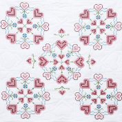 Jack Dempsey Stamped White Wall/Lap Quilt, 90cm by 90cm , XX Hearts
