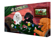 House of Poodles Dogs Playing Poker Canvas 11 x 14