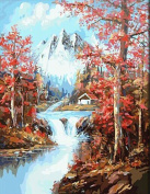 DIY Paint By Number Kits No Blending / No Mixing Canvas Painting - Red Forest