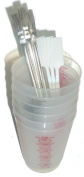 Reusable 240ml plastic cups with brushes and stir utensil set