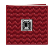 Pioneer Embossed Post Bound Scrapbook Album 30cm x 30cm -Red Chevron