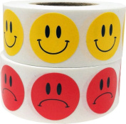 Smiley Happy Face and Sad Frowney Unhappy Face Stickers Combo Pack 1,000 Total Labels 1.9cm Inch Round