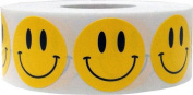Yellow Smiley Face Happy Stickers 2.5cm Inch Round Circle Teacher Labels 1,000 Total