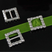 Crazy Genie 15mm 50pcs Square Rhinestone Buckle Invitation Ribbon Slider For Wedding Supply Silver Colour