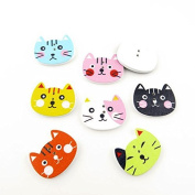 20x Arts Crafts Flatback Colourful Lovely Clothing Accessory Decoration Handmade Cute Multi Pattern Computer Painting Sewing Wood Buttons Supplies NK0102 Cat