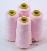 4 Large Cones (3000 yards each) of Polyester threads for Sewing Quilting Serger Light Pink (Baby Pink) Colour from ThreadNanny