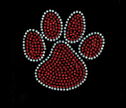 (Set of 2) Paw 10cm Red Rhinestone Transfer Iron On - DIY