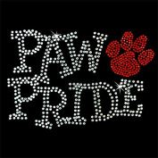 Iron on Hot Fix Rhinestone Motif Design Paw Pride Red