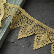 GOLD Metallic Thread Lace Trim for Bridal, Costume or Jewellery, Crafts and Sewing, 9.2cm by 1 Yard, TR-10980