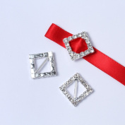 Janecrafts 50pcs 15mm Square-shaped Rhinestone Buckle Slider for Invitation Wedding Letter