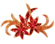 Sequin Flower Two By Shine Trim - Red/gold
