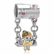 Pugster Sister Charms Sale Cheap Girl Sitting On Swings Dangle Beads fit Pandora Charm Bracelet