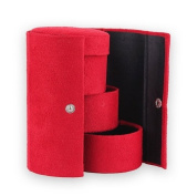 LIFECART Portable 3 Tier Velvet Roll Up Jewellery Box with Snap Closure for Ring Earring - Red