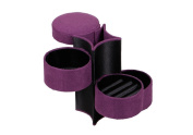 LIFECART Portable 3 Tier Velvet Roll Up Jewellery Box with Snap Closure for Ring Earring-Purple
