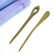 kilofly Oriental Handcraft Carved Wooden Hair Sticks Set of 2, Phoenix Eye & Pin Fork, with Gift Box