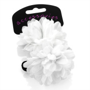 2 x Girls White Flower Ponios/ Hair Elastics/ Bobbles