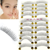 Ardisle Reusable 10 Pairs Handmade Fake False Eyelash Transparent Stem Beauty Natural Look Lashes