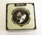 Leonardo Collection Diamanté Roaring 20s Pill Box (Pink) with Presentation Box and Flip-Up Mirror, Diameter 2 inches/4.5cm approx