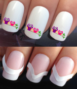 NAIL DECALS WATER TRANSFERS STICKERS ART SET #294 & 172. **plus x48 nail tip guides!!** x24 CUTE PINK & PURPLE NIGHT OWLS SAT ON A BRANCH TREE! TATTOO WRAPS & x48 FRENCH MANICURE TIP GUIDES! CAN BE USED WITH NATURAL GEL ACRYLIC STICK ON NAILS! OR WITH ..