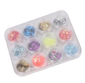 SODIAL(TM) 12 Colour Nail Art UV Gel Acrylic Crushed Shell Shiny Sparkle Glitter Powder Flakes Tips Decoration