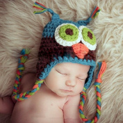 Newborn Baby Boy Girl Ear Flap Hat Knitted Cap Handmade Beanie