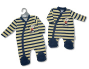 Baby Boy Striped 'Racing Team' Velour one piece outfit sizes New Born, 0-3M 3-6M