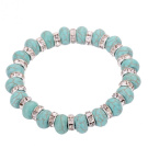 Silver, Crystal & Turquoise Stretch Bracelet