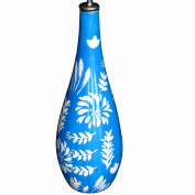 Painted ceramic olive oil bottle for the kitchen or dining table. Decorative dressing bottle for oil or vinegar presented in luxury gift box for birthday and wedding presents. 'Fleur Bleue' design