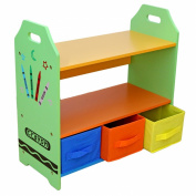 Bebe Style Children Sized Wooden Shelves with Three Storage Boxes