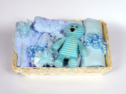 Gift Wrapped Blue Baby Shower Hamper - 12 Newborn Essentials