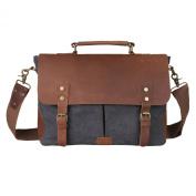 Kattee Retro Designer mens canvas leather satchel messenger shoulder tote bag briefcase dark grey