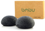 BmBu Charcoal Activated Exfoliating Konjac Sponge★ 2 Pack ★ Made with High Quality, Sustainably Grown Konjac Fibres ★ Biodegradable Packaging