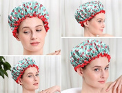 Women Waterproof Shower Caps Elastic Band Hat Hair Bath Double Shower Spa Cap