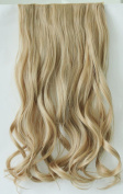 One Piece Clip in Caramel Blonde Curly Wavy Synthetic Hair Extensions 60cm
