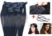Ali Queen 6A Grade 46cm Off Black Clip In Brazilian Virgin Human Hair 7pcs/set, Straight Hair Extension + 1pcs Plait