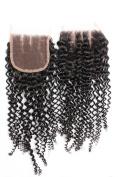 GoldRose Beauty Bleached Knots Lace Closure Top Quality Brazilian Virgin Curly Wave Human Hair Extensions Swiss Lace 10cm x 10cm Three Part Lace Closure 1 Bundle 30cm Natural Black Colour
