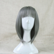 Fashion Japanese Harajuku Zippe Short Grey Lolita Cosplay Wig + Free Wig Cap